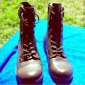 G by Guess vegan leather lace up boots brown NWOT